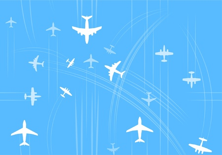 avia: Transport and civil airplanes trajectories seamless background