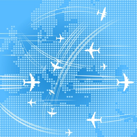 Airplanes trajectories over the abstract map oe europe Vector