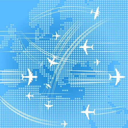 Vliegtuigen trajecten over de abstracte kaart oe europa Vector Illustratie