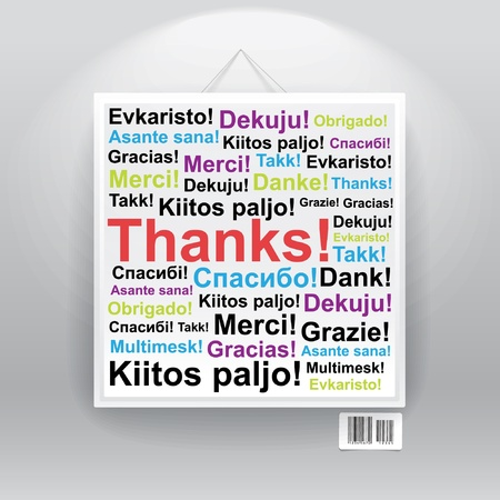 congratulations word: Many thanks in differenr languages on board.