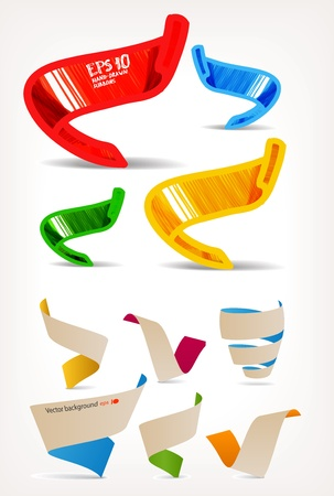 Mega set of colorful origami and handmade ribbons. Place your text here  Vector