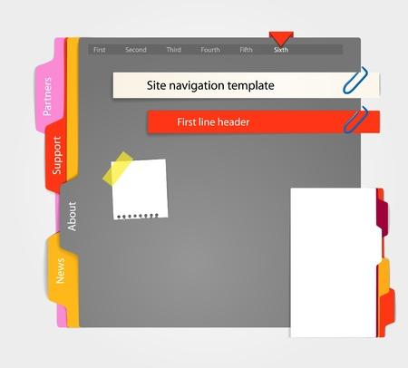 avviso importante: Modello di sito Web grigio. Paper style Vettoriali