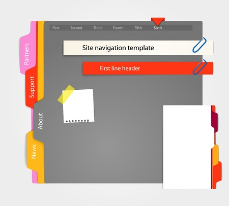 Web site gray template. Paper style Vector
