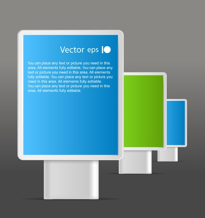 Advertising boards in a line. Place your text on them Stock Vector - 11372071