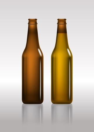 botellas vacias: Botellas de color marrón llenos y vacíos de cerveza