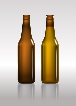 cold storage: Full and empty brown beer bottles  Illustration