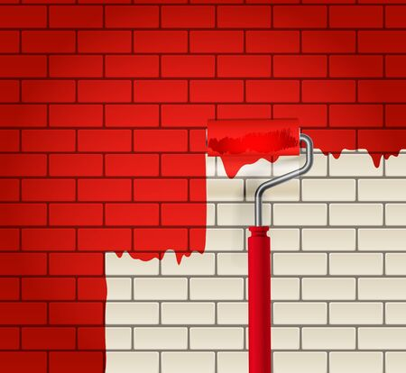 redecorate: Brick wall which is painted in red by roller Illustration