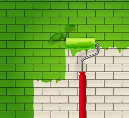 redecorate:  Brick wall which is painted in green color by roller Illustration