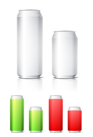 energy drink: Different colors aluminium cans template