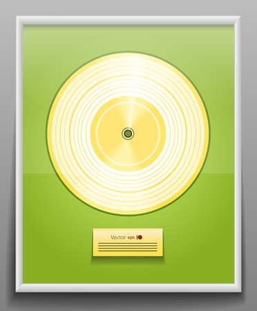 gold record:  Golden CD prize with label in frame on wall