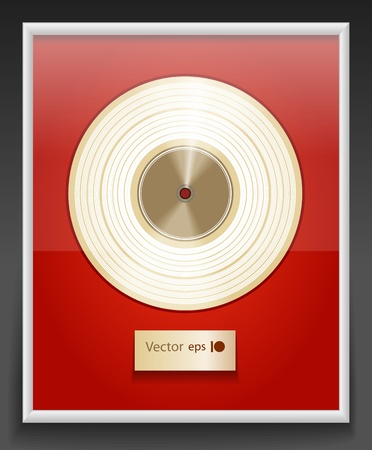 Platinum CD prize with label in frame on wall Stock Vector - 11333127
