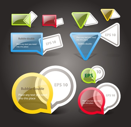 Glass style speech boubles set. Ready for a text. Stock Vector - 11333134