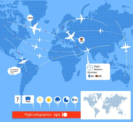 carriers: Flight infographics. Civil airplanes trajectories on world map with notes