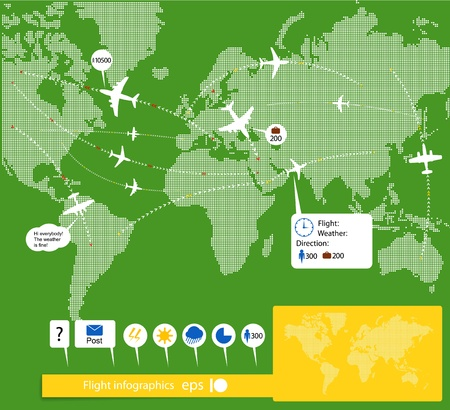 airline:  Flight infographics. Civil airplanes trajectories on world map with notes