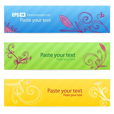 Set of floral colorful banners Stock Vector - 11371891