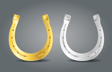Gouden en zilveren hoefijzers. Symbool van geluk