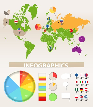 Infographics. Earth map and different chart Stock Vector - 11333206