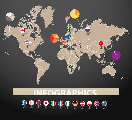 green world: Infographics. Earth map with flags of different countries, on dark background
