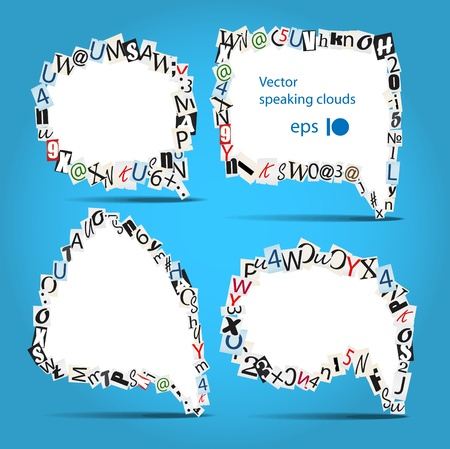 talk bubbles of letters from newspaper and magazines on blue Stock Vector - 11333465