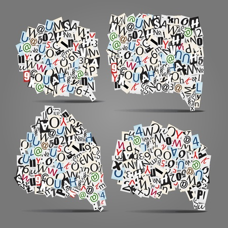 Set of talk bubbles of letters from newspaper and magazines  Vector