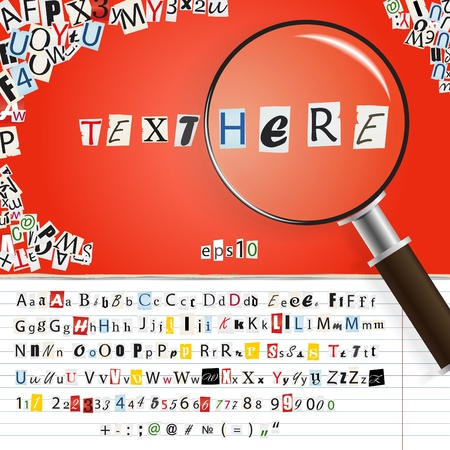 Searching magnifier with set of letters from newspaper and magazines on red  Vector