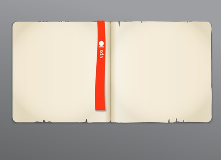 old diary: Old opened book with red bookmark background. Ready for the text