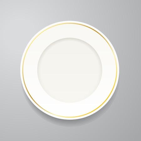 cerchione: Piatto bianco con bordo dorato su grigio Vettoriali