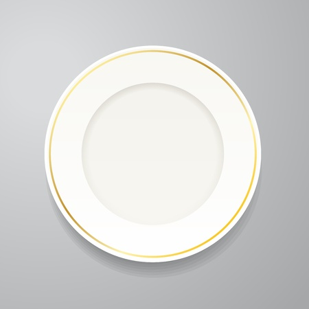 White plate with gold rim on grey Vector