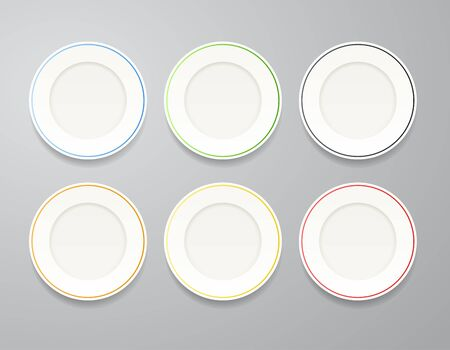 White plates set with colorful rims Vector