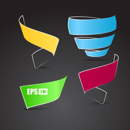 Color origami ribbons on black. Place your text here  Vector