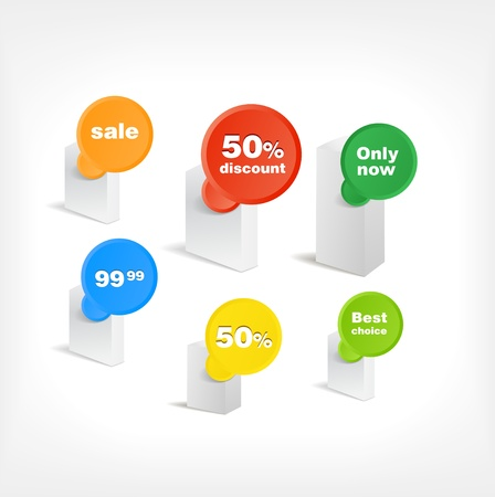 Boxes wirh special offer stickers Vector