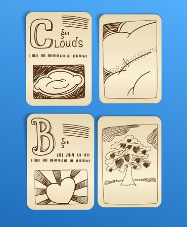 vintage style pictures on paper sheets  Vector