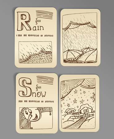 Weather icons. vintage book style, set 2 Stock Vector - 11337276