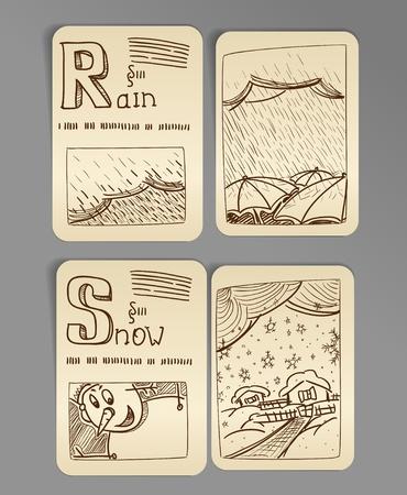 snoflake: Weather icons. vintage book style, set 2 Illustration