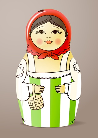 Traditional hand-drawn painted varnished colorful wood doll. Matrioska Vector