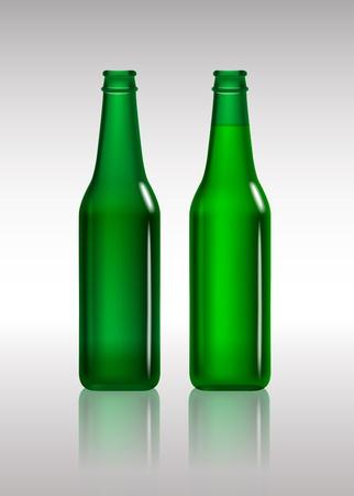 beer bottle: Full and empty green beer bottles  Stock Photo