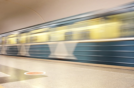 Fast motion of metro train photo