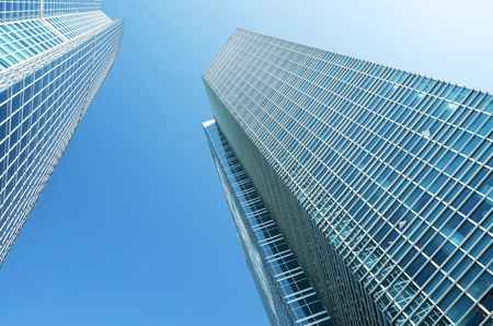 Angle view of glass buildings photo