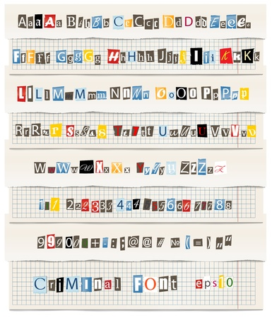 capital letter: Different colors letters from newspaper and magazines collection