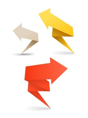 web side: Coloridas banderas de flecha poligonales origami. Coloca el texto aqu� Vectores