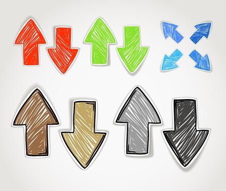 freccia giù: Disegnati a mano freccia simboli collezione