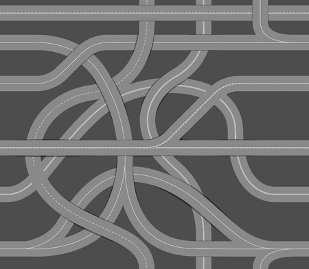 road marking: Seamless background of winding roads Illustration