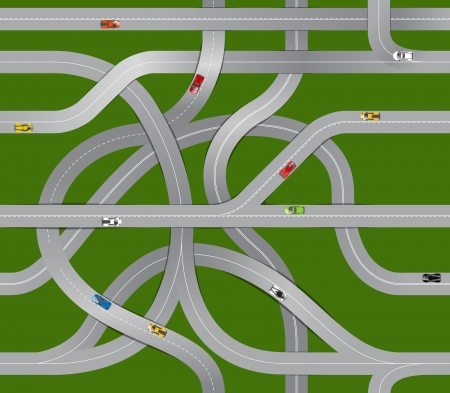 Seamless background of winding roads and moving cars  Vector