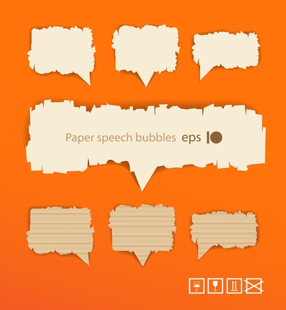 securing: Paper style speech bubbles on orange background. Ready for a text