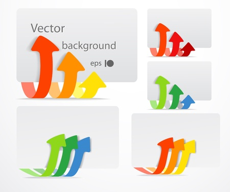triple: Set of cards with color arrows. Template for a text