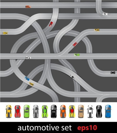 road marking: Roads and car collection Illustration