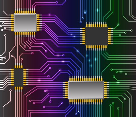 electric circuit: Seamless chip background Illustration