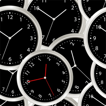 Black steel modern clock. seamless background Vector