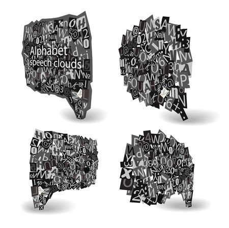 Black talk bubbles of letters from newspaper and magazines in perspective  Vector