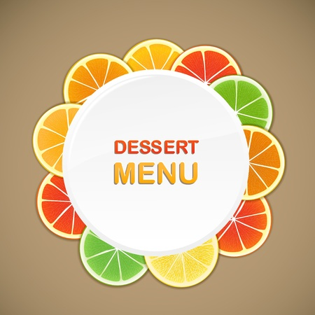 citrus: Dessert menu template. Ready for a text Illustration